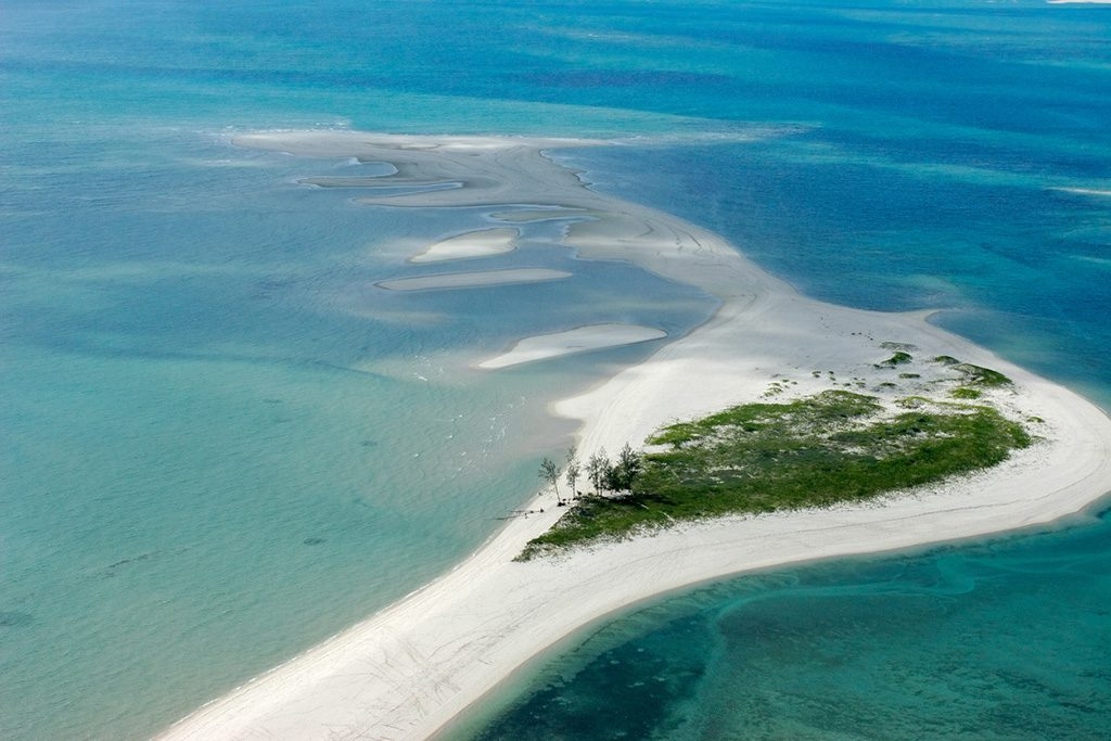 Aerial view of small tropical island of the coast of Mozambique