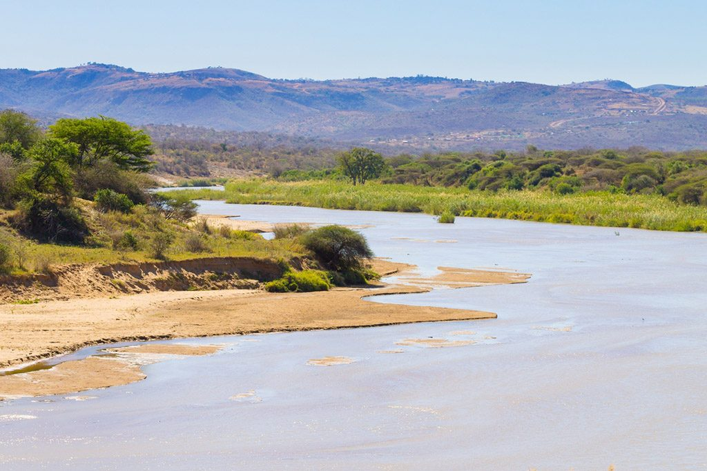 White Umfolozi panorama from viewpoint, Hluhluwe–Umfolozi Game Reserve