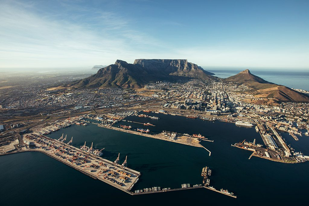 Aerial view of entrance of the port of cape town.