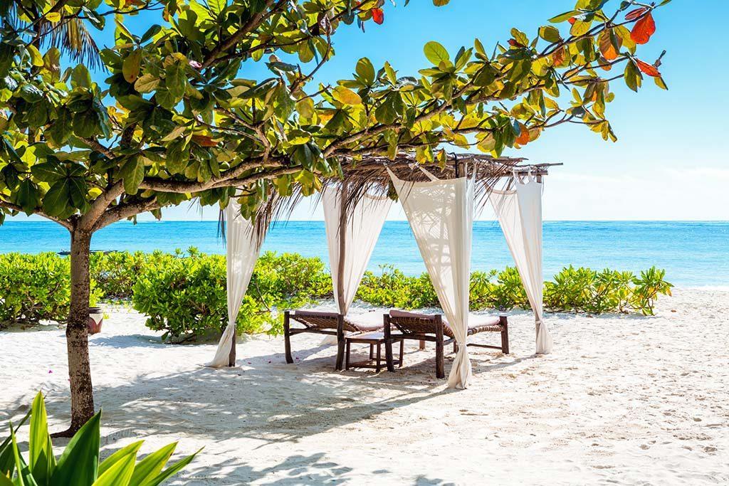 Gazebo on idyllic tropical beach (Zanzibar, Tanzania).