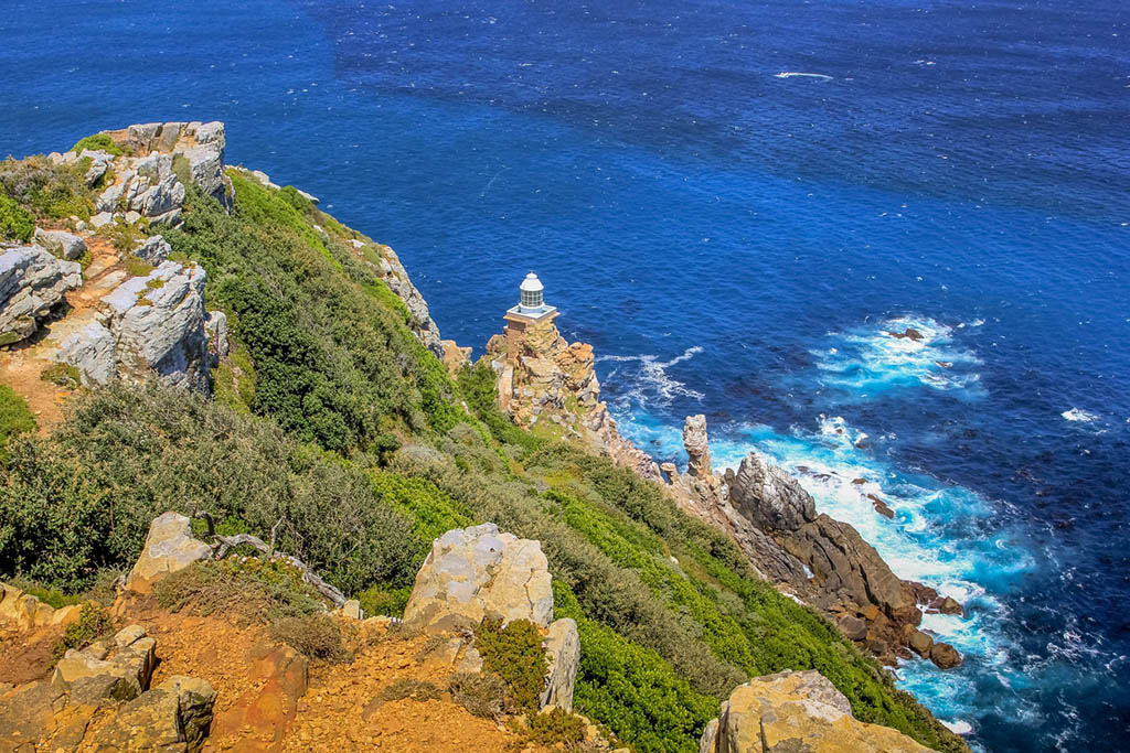Panoramic view of the new lighthouse of Cape Point in Cape of Good Hope Nature Reserve in Cape Peninsula.