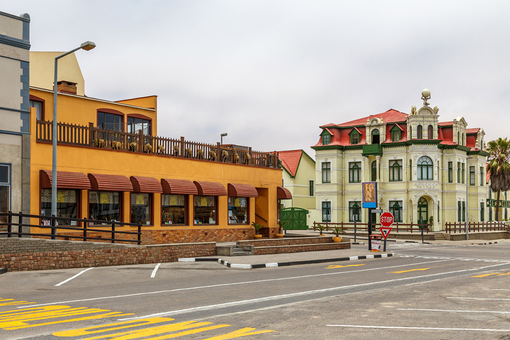 Old German colonial buildings and empty streets of Swakopmund, Namibia