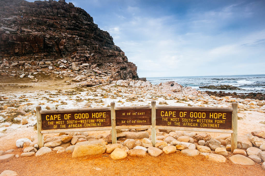 Cape of good hope sign with the geographical coordinates