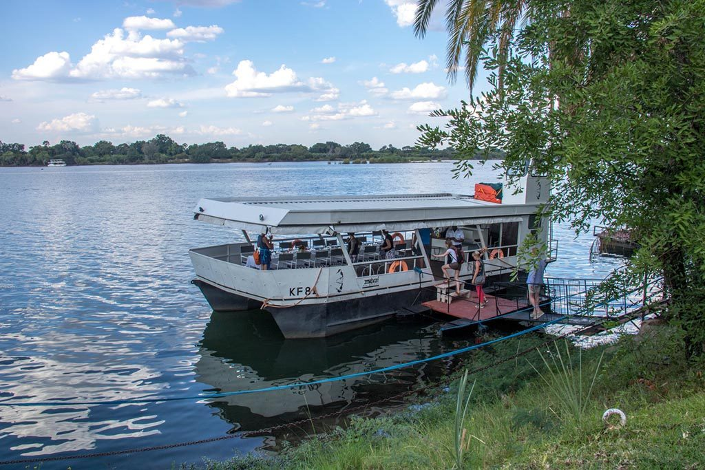 A riverboat about to embark on a cruise along the Zambezi River