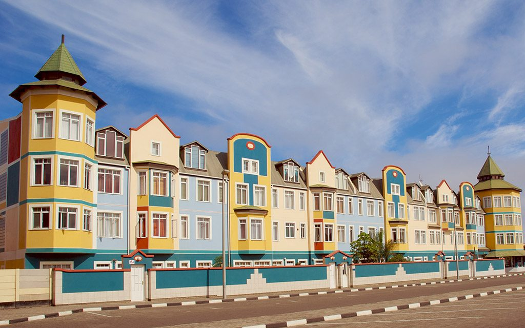 Colorful colonial houses in Swakopmund, Namibia