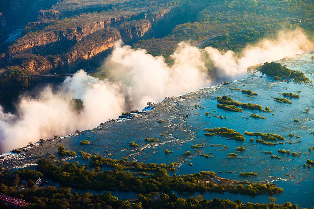 Victoria Falls seen from the air, Zambia/Zimbabwe