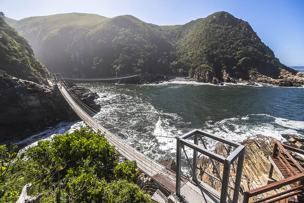 Hanging bridge over River mouth, Tsitsikamma National Park, South Africa