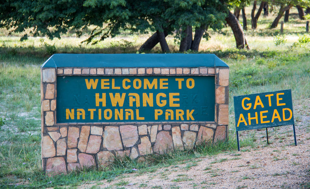 The road sign at the entrance to Hwange National Park in Zimbabwe.