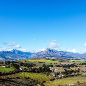 A beautiful landscape of the Cape Winelands in the Stellenbosch region looking towards the mountains.