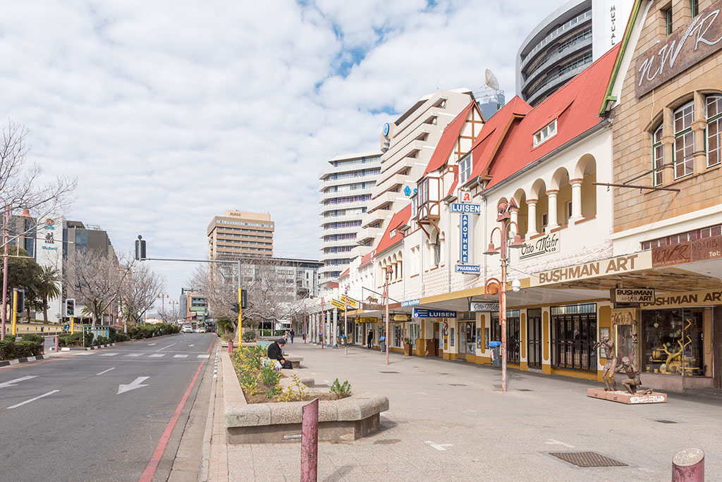 Historic German architecture against a backdrop of modern buildings in Independence Avenue in Windhoek, the capital city of Namibia