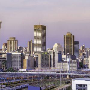 Johannesburg sunset cityscape with Nelson Mandela Bridge